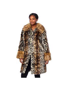Adrienne Landau Leopard Print Coat With Faux Fox Trim by A By Adrienne Landau