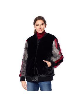 Adrienne Landau Striped Sleeve Faux Fur Bomber Jacket by A By Adrienne Landau