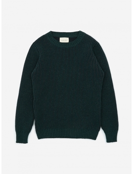 Knitted Crewneck Jumper   Navy/Green by Nicholas Daley