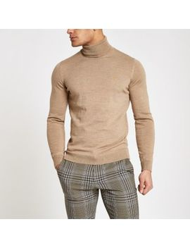 Farah Light Brown Roll Neck Sweater by River Island