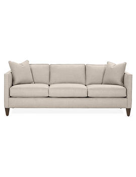 "Auburn Sofa, Gray Linen by [""Miles Talbott""]"