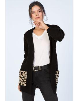 Black Animal Fur Pocket Cardigan by Select