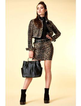 Leopard Print Clean Denim Skirt by Select