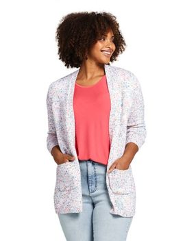 Women's Plus Size Long Sleeve Confetti Open Cardigan Sweater by Lands' End