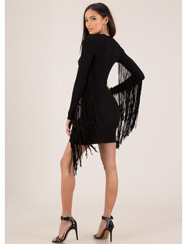 Give Me Wings Fringed Rib Knit Dress by Go Jane