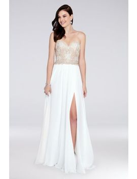 Strapless A Line Chiffon Dress With Beaded Bodice by Terani Couture