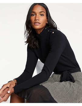 Petite Shoulder Button Turtleneck Sweater by Ann Taylor