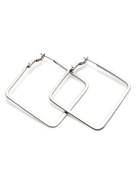 Stately Steel Stainless Steel Flat Square Hoop Earrings by Stately Steel