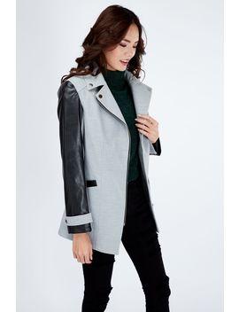 Grey Pu Sleeve Formal Biker Coat by Select