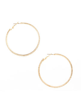 Crystal Studded Gold Tone Hoop Earrings by Claire's