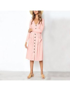 "<P>Women's Fashion V Neck Button Versatile Pocket Long Sleeve Dress</P><I Class=""Icon Down Js Tap Up Down""></I> by Dress Lily"