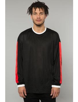Black Mesh Ls Drop Shoulder Tee by Elwood Clothing