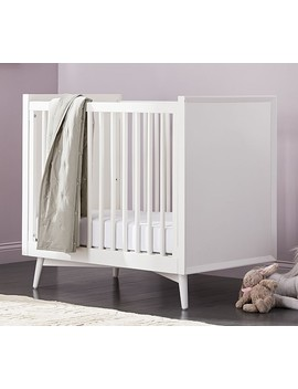 West Elm X Pbk Mid Century Mini Crib With Mattress, White by Pottery Barn Kids