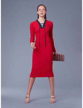 Long Sleeve Lace Up Sweater Dress by Dvf