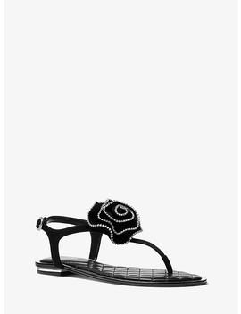 Valentina Floral Appliqué Suede Sandal by Michael Michael Kors
