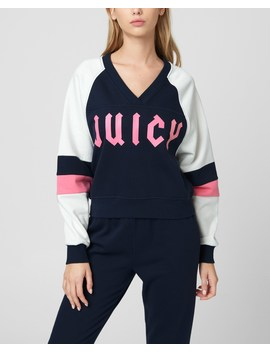 Colorblock Fleece V Neck Pullover by Juicy Couture