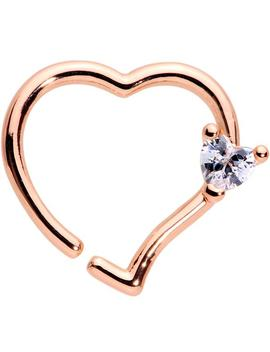 """16 Gauge 3/8"""" Clear Cz Heart Rose Gold Tone Heart Seamless Ring by Body Candy"""