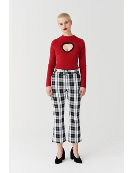 Lazy Oaf Black &Amp; White Check Kick Flare Trousers by Lazy Oaf