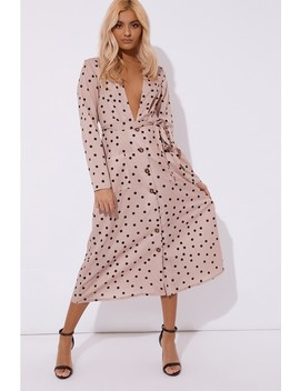 Laura Jade Nude Polka Dot Long Sleeved Midi Dress by In The Style