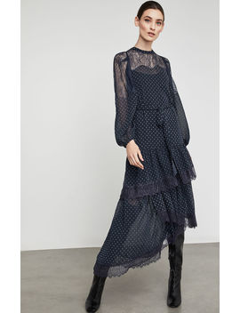 Asymmetric Lace Inset Maxi Dress by Bcbgmaxazria