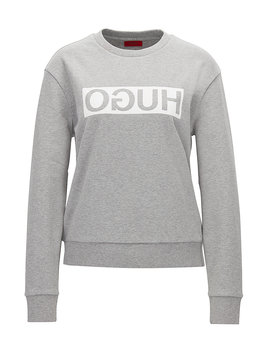 Relaxed Fit Cotton Sweater With Reverse Logo by Boss