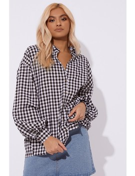 Laura Jade Black Gingham Oversized Balloon Sleeve Shirt by In The Style