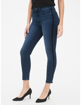 High Rise True Skinny Ankle Jeans With Velvet Side Stripes by Gap