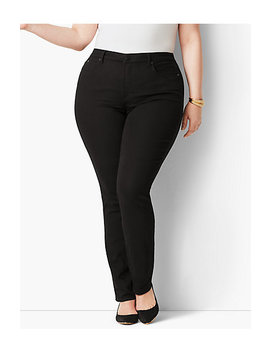 Plus Size Exclusive High Rise Straight Leg Jeans   Black by Talbots