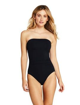 Women's Perfect Bandeau Shirred One Piece Swimsuit With Tummy Control by Lands' End