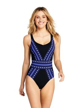 Women's Perfect Sweetheart One Piece Swimsuit With Tummy Control Print by Lands' End