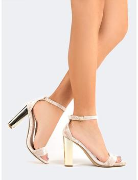 Ankle Strap Metallic Heels by Zooshoo
