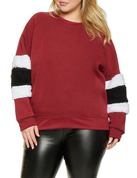 Plus Size Striped Sherpa Trim Sweatshirt by Rainbow