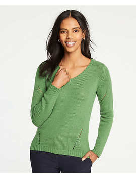 Pointelle V Neck Sweater by Ann Taylor