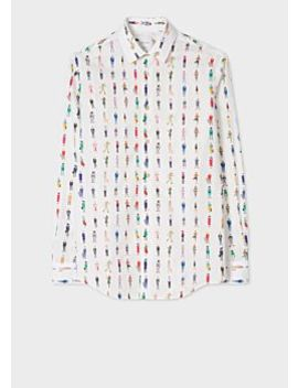 Men's Tailored Fit White 'people' Print Cotton Shirt by Paul Smith
