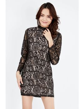 Lace High Neck Bodycon Dress by Select