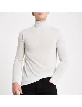 Zilverkleurig Metallic Slim Fit Pullover Met Col by River Island