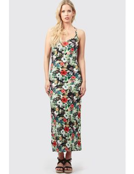 Floral Print Cross Back Maxi Dress by Select