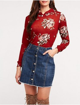 Floral Hoodie Sweatshirt by Charlotte Russe