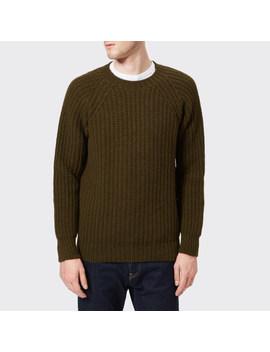 Officine Générale Men's Crew Neck Scottish Wool Knitted Jumper   Olive by Officine Générale