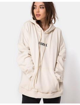 Oversize Hoody In Stone With Angel Embro By Motel by Motel