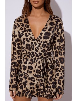 Dani Dyer Gold Leopard Print Wrap Front Playsuit by In The Style