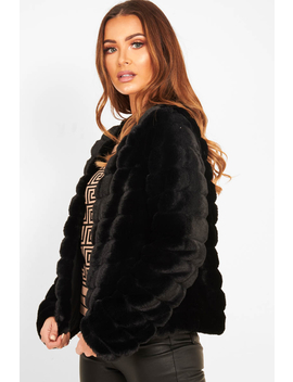 Black Faux Fur Collarless Bubble Coat   Madyn by Rebellious Fashion