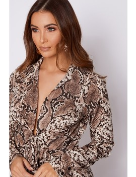 Greyson Brown Snake Print Tie Front Shirt Dress by In The Style