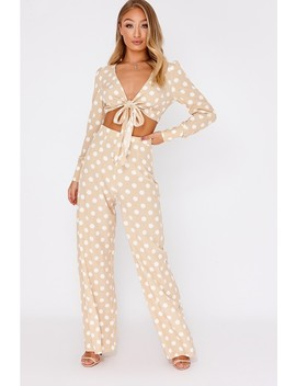 Billie Faiers Nude Polka Dot Palazzo Trousers by In The Style