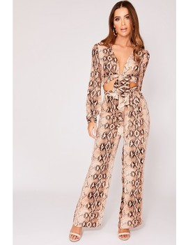 Inasha Brown Snake Print Tie Waist Palazzo Trousers by In The Style