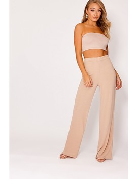 Kiyah Camel Ribbed Wide Leg Trousers by In The Style