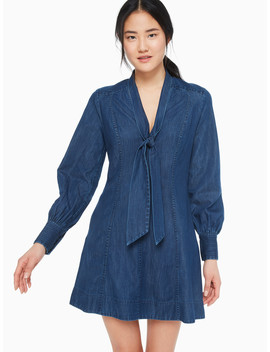 Tie Neck Denim Dress by Kate Spade