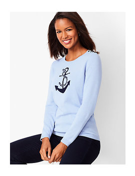 Anchor Motif Crewneck Sweater by Talbots