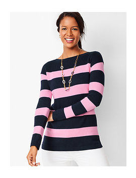 Ribbed Yoke Sweater   Stripe by Talbots