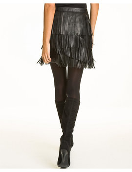 Leather Like Fringe Mini Skirt by Le Chateau